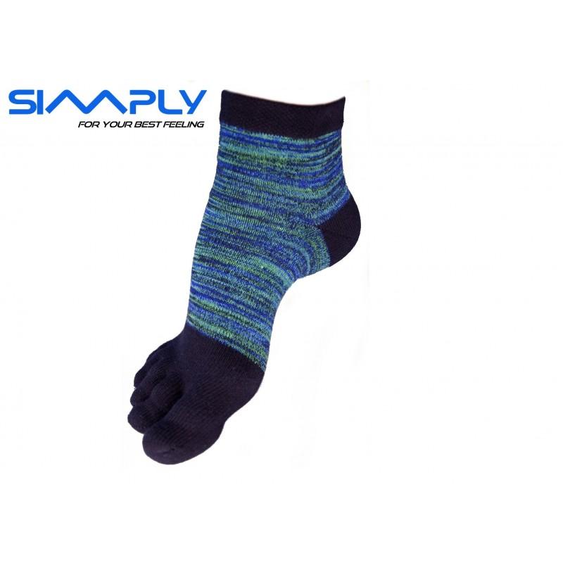 Anatomické prstové ponožky Simply - melírové vysoké zelené