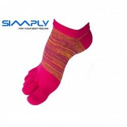Anatomické prstové ponožky Simply - melírové nízké červené
