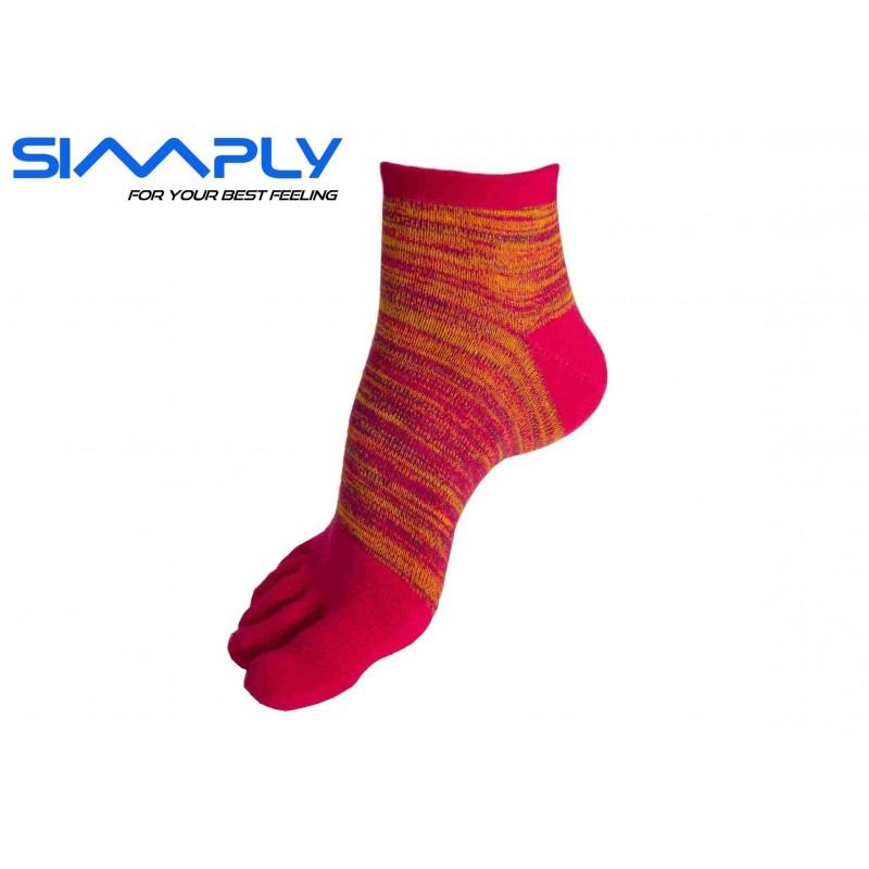 Anatomické prstové ponožky Simply - melírové vysoké červené